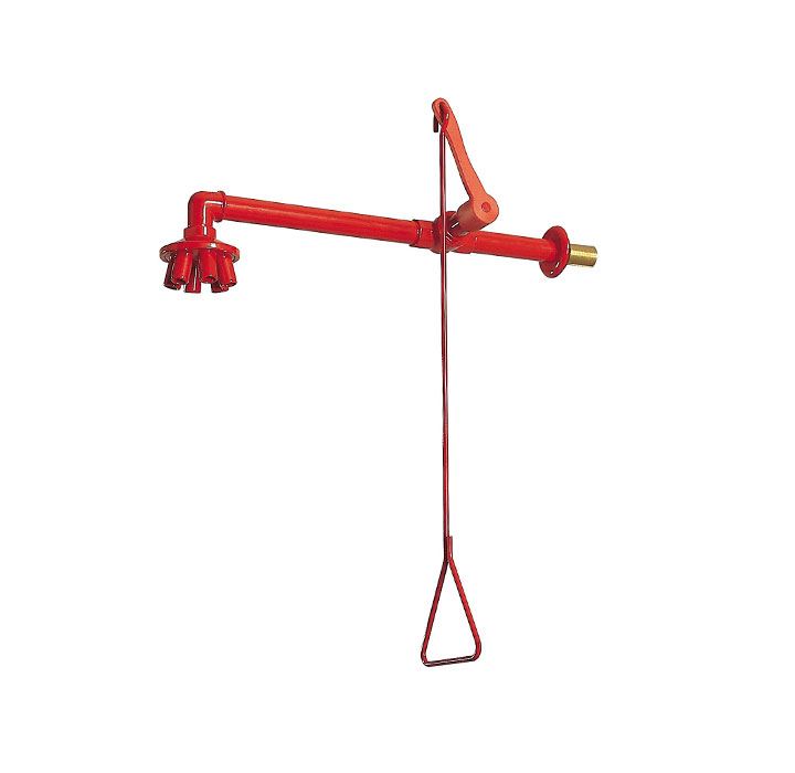 Wall-mounted emergency shower with valve