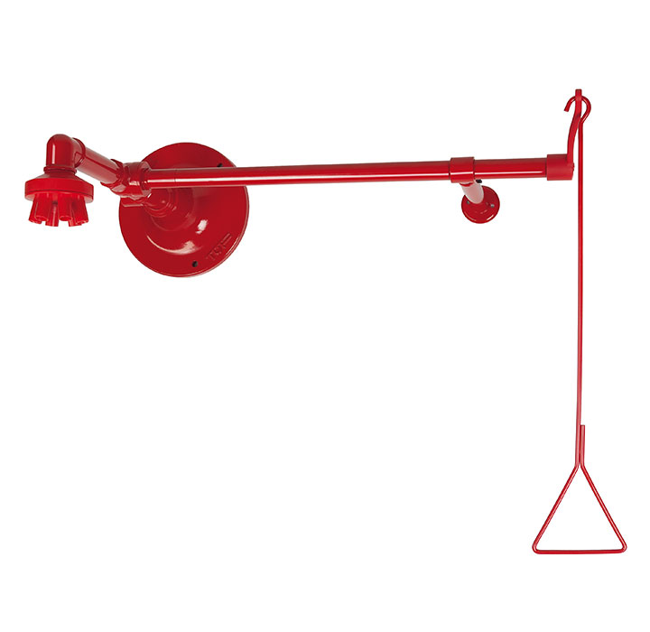 Wall-mounted emergency shower with valve and base