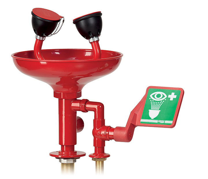 Bench-mounted eye-washer with bowl