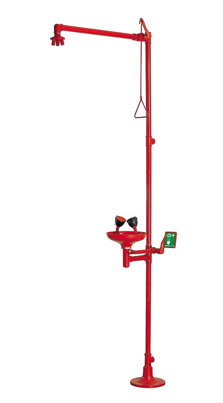 Floor mounted emergency shower combined with eye-bath