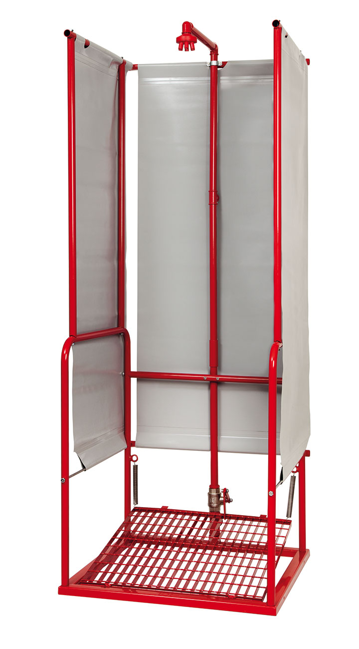 Emergency shower with platform and box