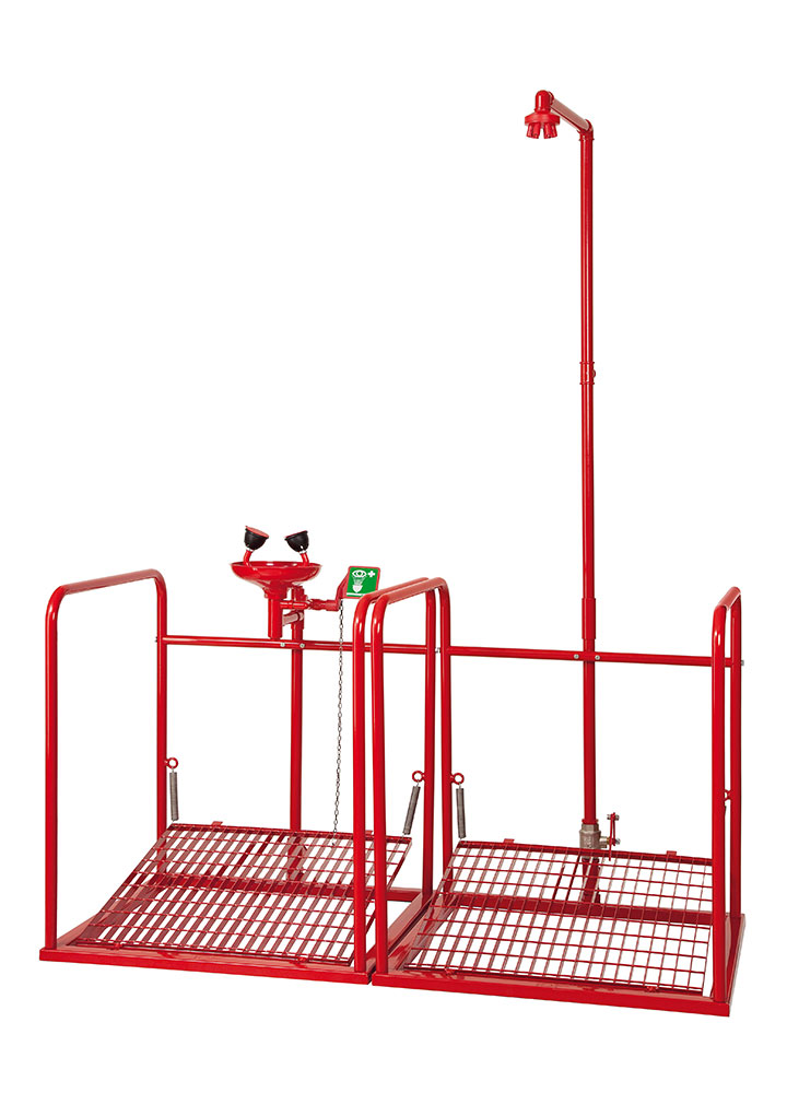 Emergency shower and eye-washer with platforms side-by-side