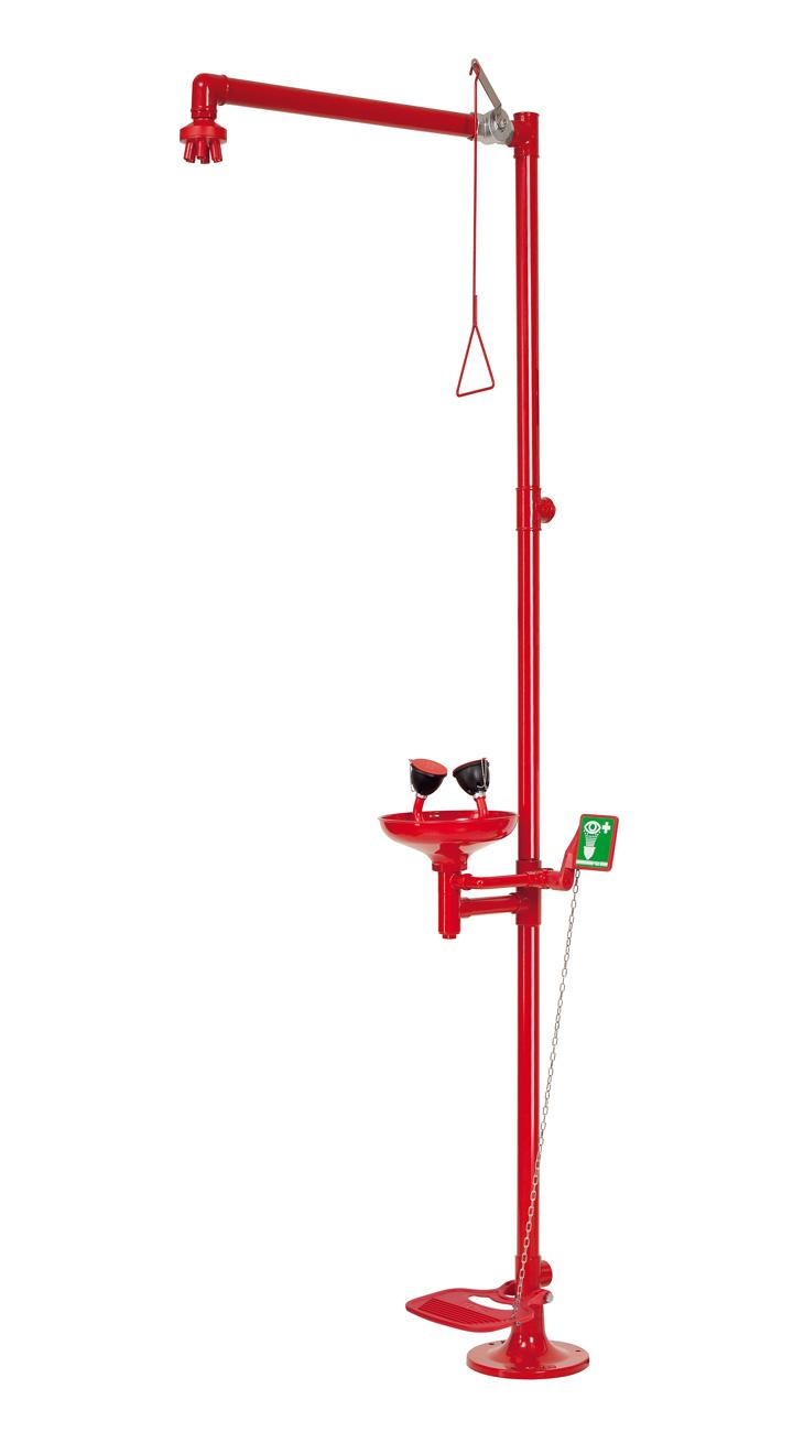 Floor mounted body/eye emergency shower