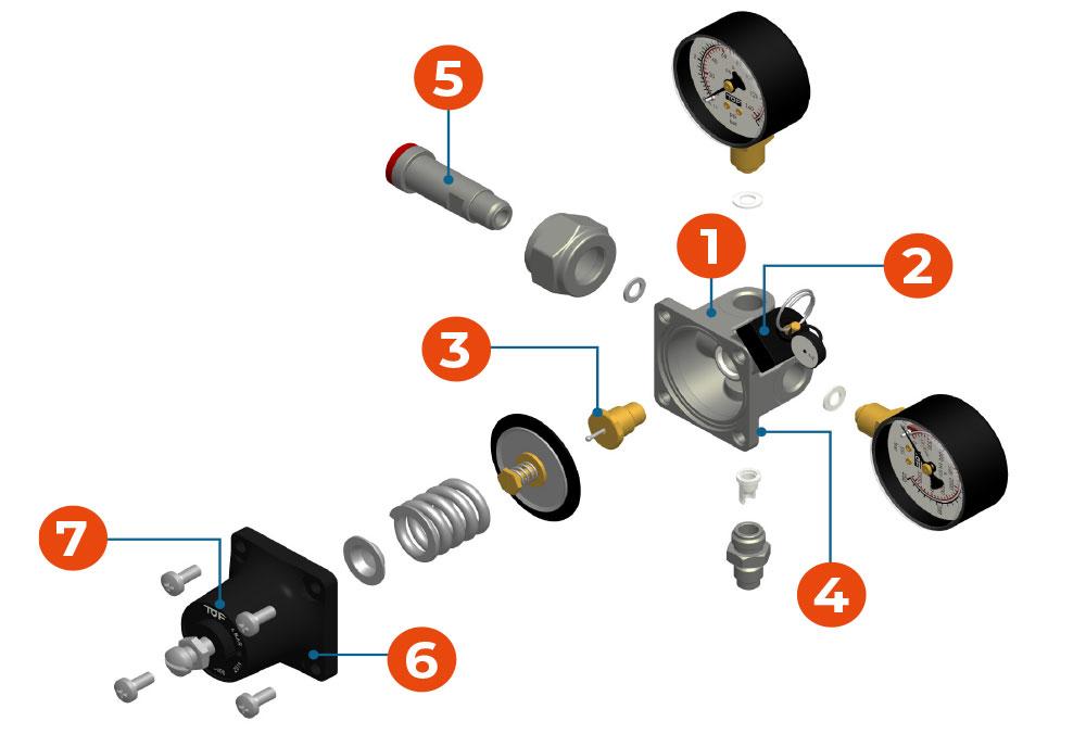 exploded view - pressure regulator